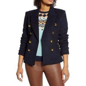 Halogen Women Blue SZ 8 Double Breasted  Atlantic pacific pea coat blazer NEW